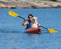 Dr Liz and dog-Kayaking